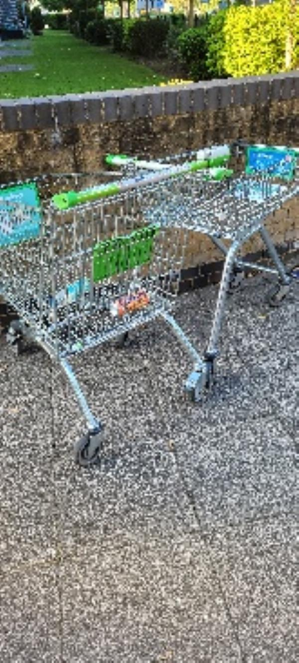 2 asda trolleys near entrance to flats. there is also another behind the post boxes on the southern entrance -75 Brand House Coombe Way, Farnborough, GU14 7FT