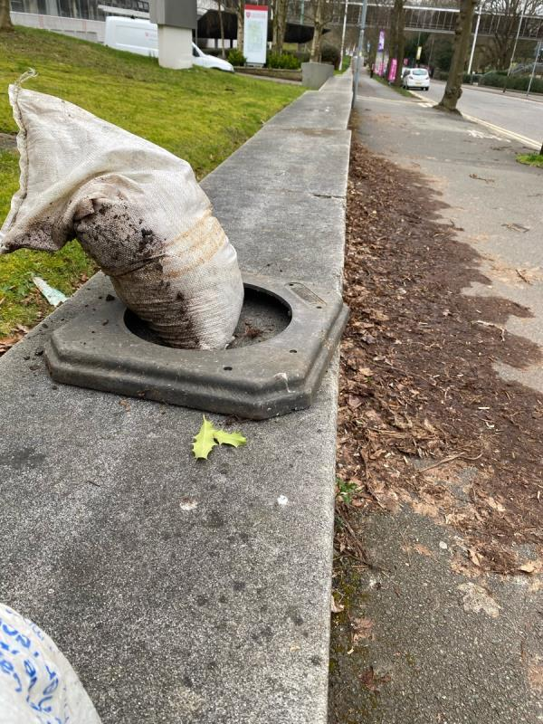 Sand bag and cone base for collection. At pedestrian traffic lights on university road by peace walk gates.-Richard Attenborough Centre Lancaster Road, Leicester, LE1 7HB