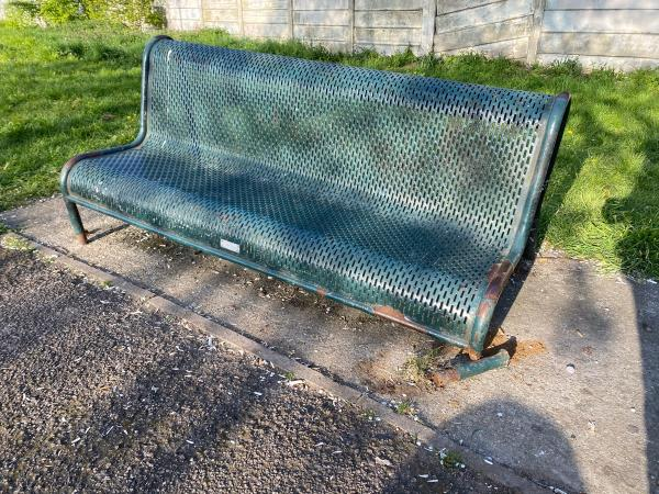 Broken bench-148 Roman Road, East Ham, E6 3SR