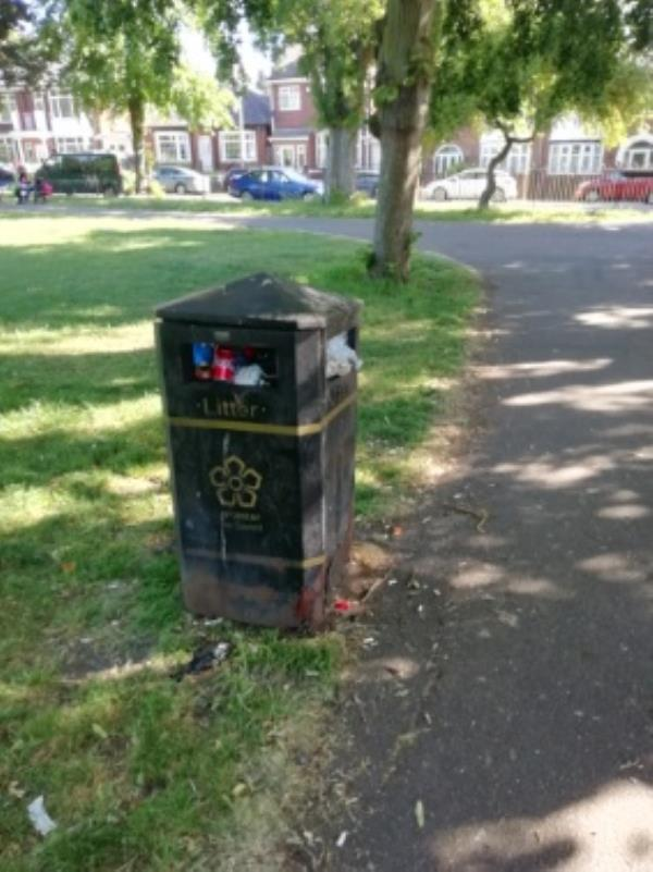 The bins need emptying on Westcotes Park as the are over flowing or full to over flowing and the bin on one of the play areas needs emptying as well. There is also litter struned around the park as well a d it looks a mess and untidy -2 Turville Road, Leicester, LE3 1NY