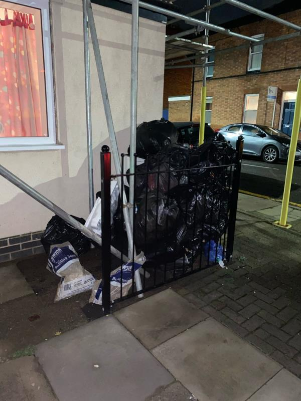 Flytipping of rubbish bags. Now falling apart and rubbish being spread across the street -80 Saint Leonards Road, Leicester, LE2 1WR