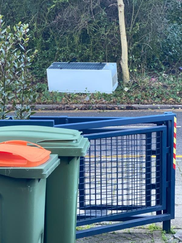 Refrigerator dumped on side of road image 1-78 Covelees Wall, London, E6 6WE