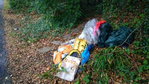 Flytipped carpet, wood etc no evidence taken -27 Hollydale Close, Reading, RG2 8LL