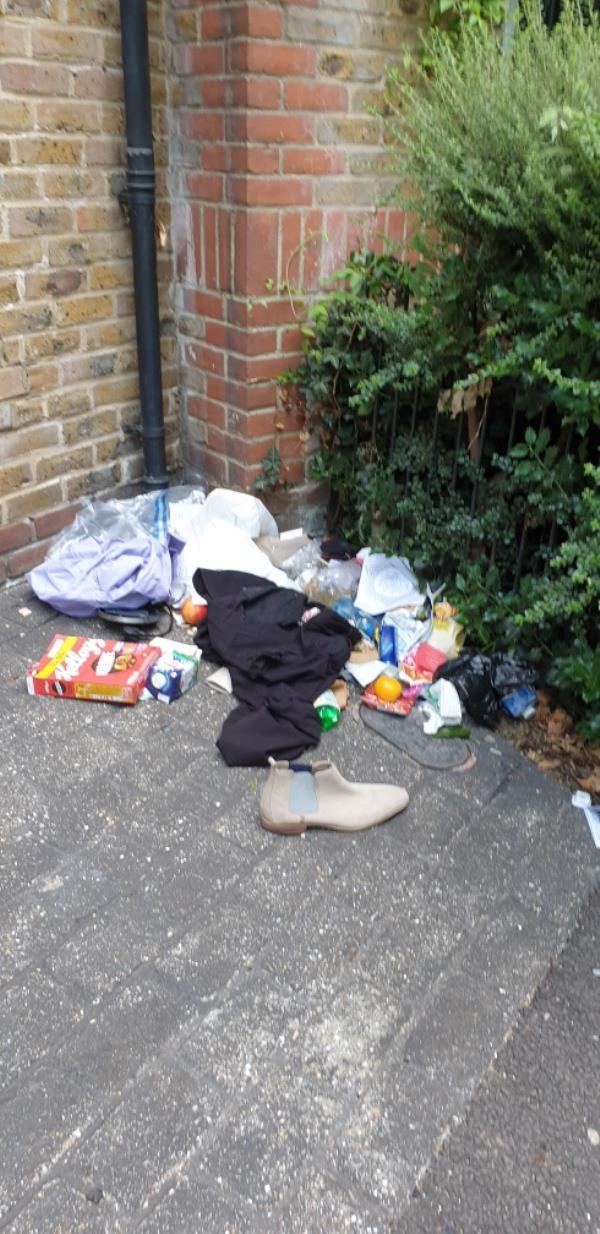 This morning when I left the estate all this rubbish was on the right of the entrance to Elmgreen close.-17 Elmgreen Close, London, E15 4BS
