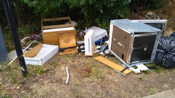 flytipping builders or domestic waste image 1-The Aviary, Windmill Ln, Southall UB2 4NG, UK
