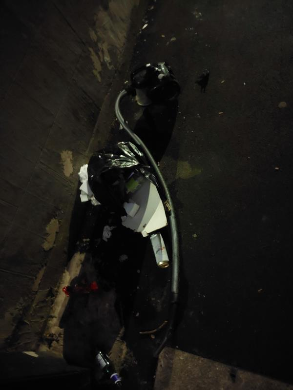 Vacuum cleaner and rubbish in alley from Edinburgh Rd to Perth Rd -59 Cave Rd, London E13 9DX, UK