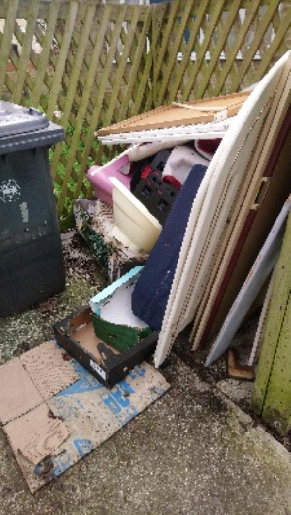 Fly tip in refuse area of 1-6 Barrington House -5 Heroes Walk, Reading, RG2 8TY