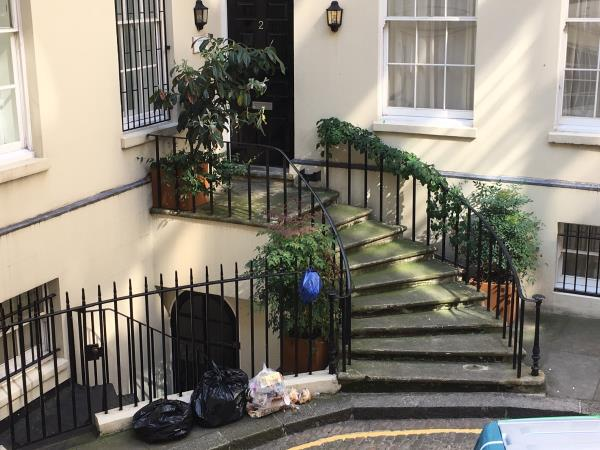 rubbish left outside this airbnb on suffolk lane, attracting vermin.-2 Suffolk Lane, Blackfriars, EC4N 6EU