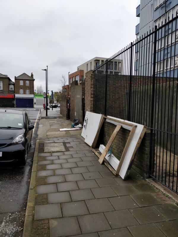 Flytipping on the pavement beside 6 Henniker Road E15-2 Henniker Road, London, E15 1JY