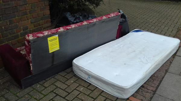 A mattress, a sofa and bags of wastes dumped near block 12 to 20 Princes Terrace -10 Prince's Terrace, Plaistow, E13 9AJ