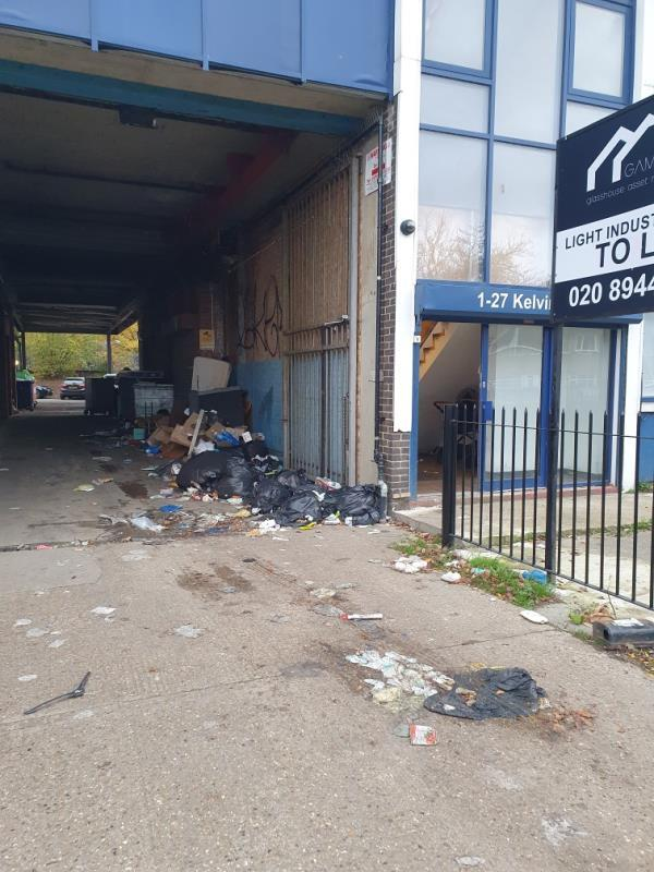 Lots of rubbish right next to Kevin House-21 Kelvin House Worsley Bridge Road, London, SE26 5FB