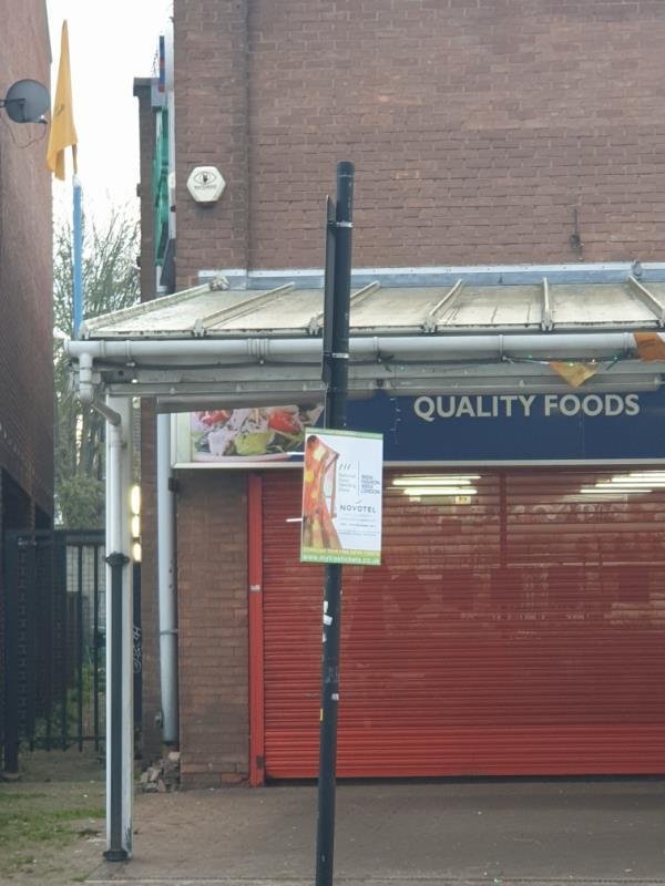 flyposting on column-72A South Rd, Southall UB1 1RD, UK