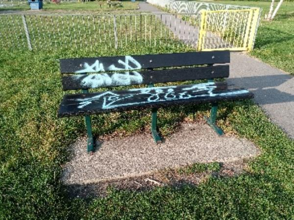 Graffiti on the bench -Dana's Passage, Reading, RG1 1NB
