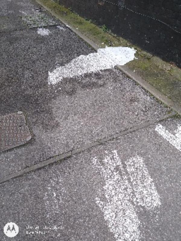 lots of paint on road-117a Lower Field Road, Reading, RG1 6AR