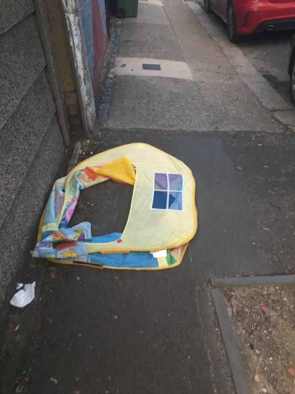 Kids play tent dumped, a resident is continually dumped old childrens toys, clothes, high chairs everywhere for people to pick through. Also fly tipped items. Maybe this street needs leaflets on how to donate to charity & how to book a bulk collection -11 Dean Street, London, E7 9BJ
