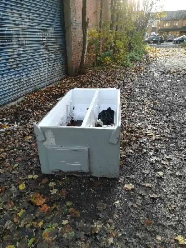 Shale Street private walkway to Hickman Park - dumped fridge freezer-Decorators Yard Shale Street, Wolverhampton, WV14 0HF