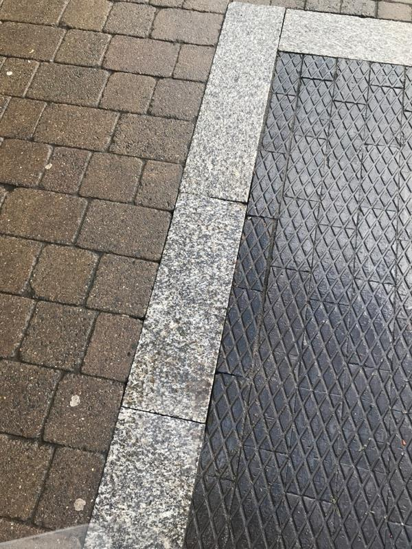 Loose large paving stone right in front of Lloyds pharmacy, dangerous-29 High Street, Wolverhampton, WV11 1ST