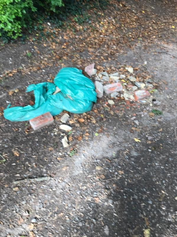 Fly tipped rubble in Southcote Farm Lane still there more than one week after first report image 1-23 Southcote Farm Lane, Reading, RG30 3DY