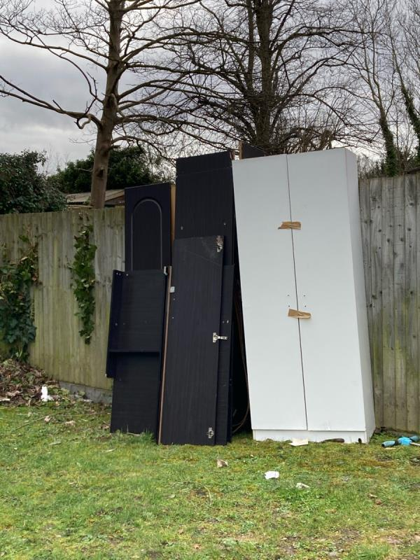 Several pieces of household furniture (broken wardrobes, chest of drawers etc) dumped on the grass area. Unfortunately, fly-tippers regularly leave things here. We would be grateful if you could you arrange to clear. Many thanks. -32 Vigilant Close, London, SE26 6YB