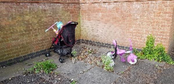 dumped child items. been here for several days now-1 Chaucer Road, Farnborough, GU14 8SW