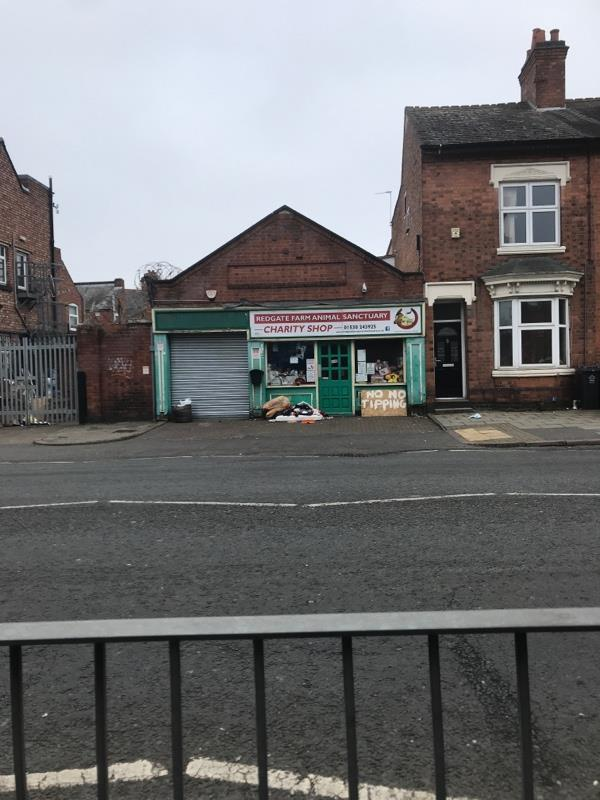 Poor charity shop keeps getting fly tipped.  -175A Fosse Rd N, Leicester LE3 5EZ, UK
