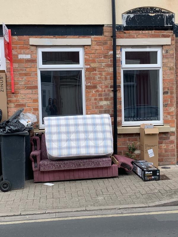 The sofa and mattress have left on the street for over four weeks this is not on-38 Brandon Street, Leicester, LE4 6AW