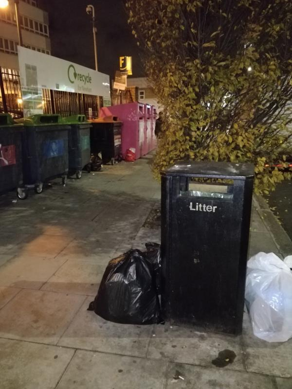 Dumped black bags of rubbish on the pavement at Henniker Point Leytonstone Road E15-Henniker Point Leytonstone Road, London, E15 1JY