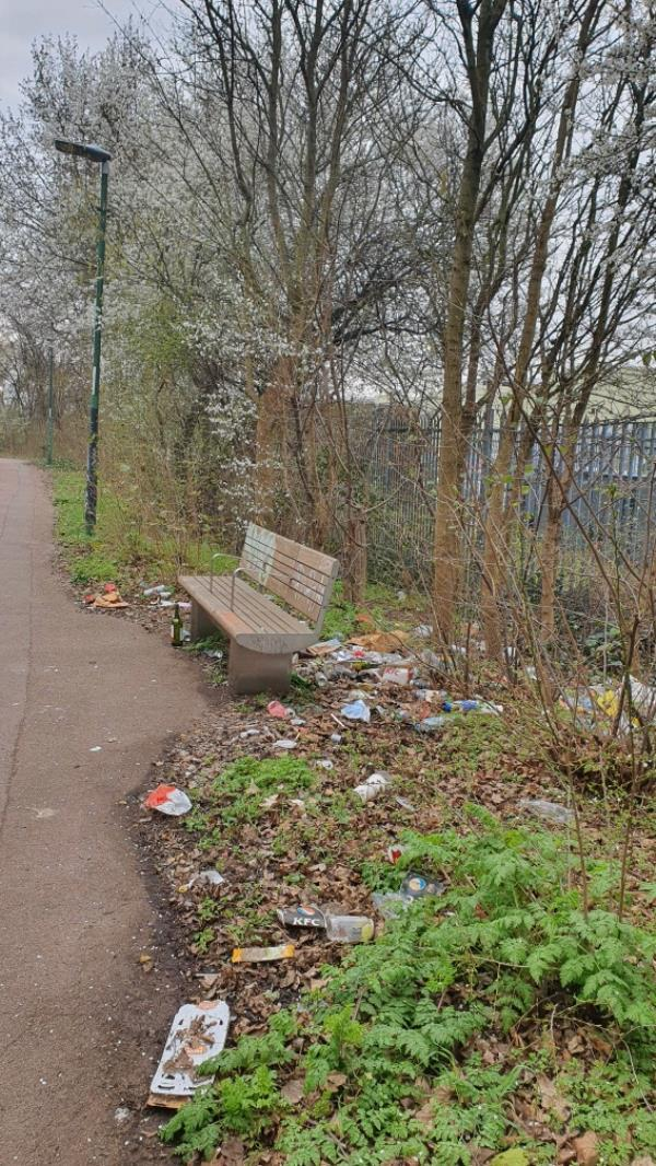Loads of rubbish on the pathway going from B&Q Beckton towards Tesco image 1-Royal Docks Road, London, E6 6LF