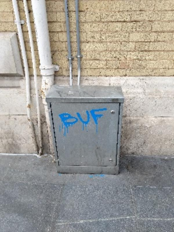 graffiti on electrical box at bottom of granby street-18 Market Place South, Leicester, LE1 5PD