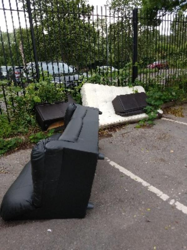 RBC Thames prom car park large heap of flytipping in parking bays and at edge of carpark image 1-Thames Promenade RICHFIELD, Reading, RG1 8BD