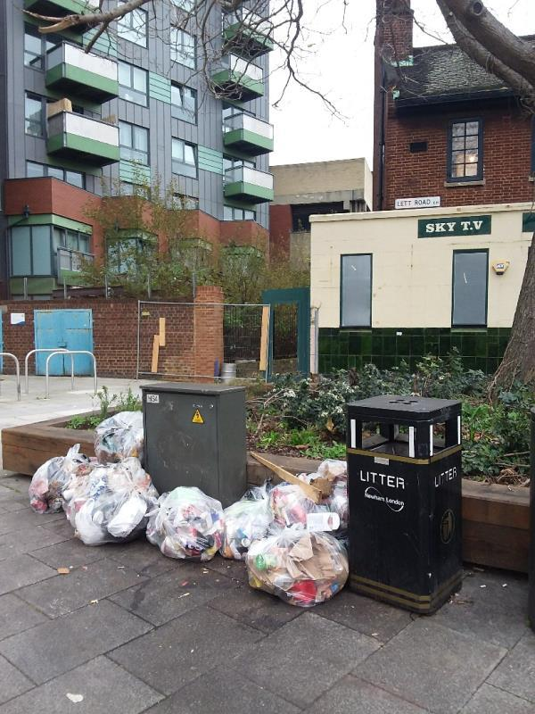 Litter and Bin Bags left at this location-2 Lett Rd, London E15 2RA, UK