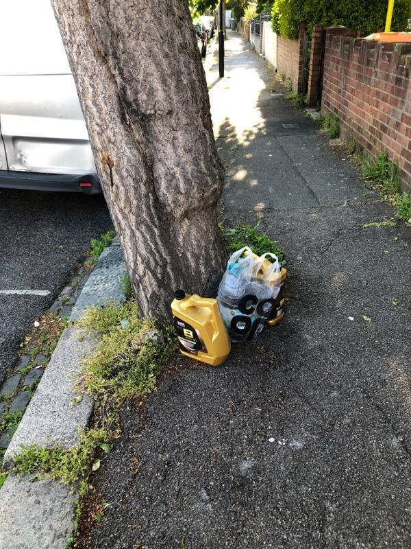 Fly tipping- it appears to be used car engine oil. -19 Salisbury Rd, Forest Gate, London E7 9JX, UK