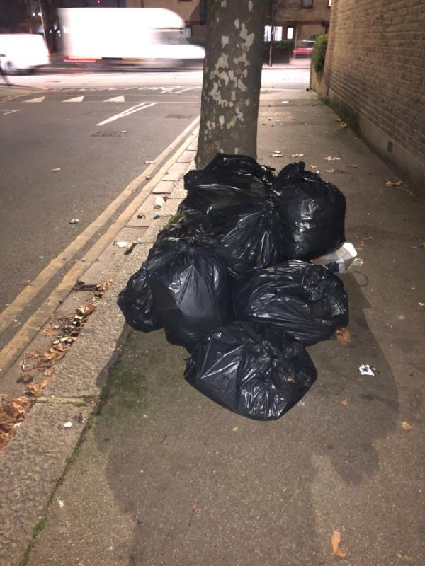 Several rubbish bags left on the pavement by a tree-1 Hollington Road, East Ham, E6 3QN