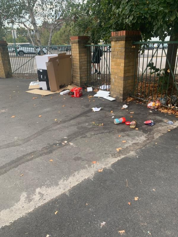 Litter on sidewalk. Can more bins please be added to this area? -20 Manbey Road, London, E15 1ET