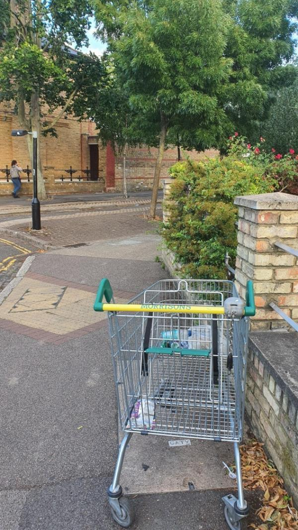 Morrisons shopping trolley with litter -52d Richmond Road, London, E7 0QB