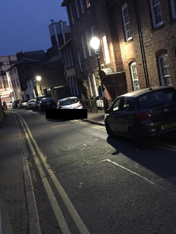 Mill hill lane. Cars parked on double yellow lines-128-132 London Rd, Leicester LE2 1EB, UK