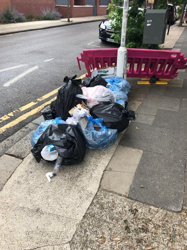 About 10 bags of household waste on the corner of Credon and Southern. -13 Credon Road, London, E13 9BS