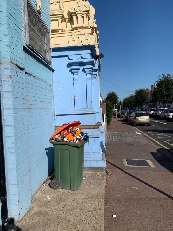 The dustbin has not been emptied for weeks and as you can see is full and requires emptying whilst the owner needs to be reprimanded  image 1-386 High St N, Manor Park, London E12 6PH, UK
