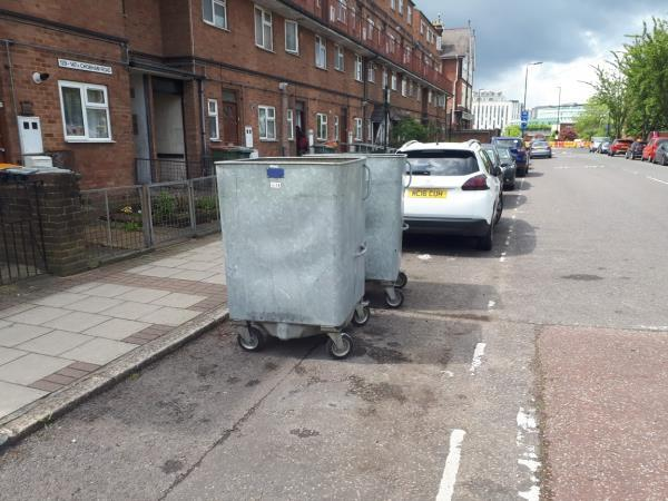 Bins from the bin store between 131/133 Chobham Road left on the carriageway and obstructing a parking bay.-131a Chobham Road, London, E15 1LZ