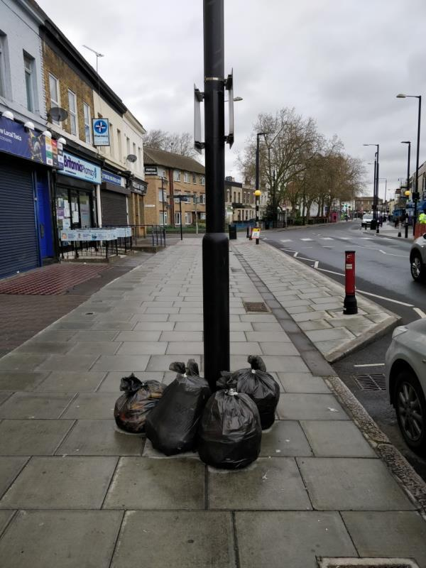 Flytipping on the pavement beside 151 Leytonstone Road E15-147-149 Leytonstone Road, London, E15 1LH