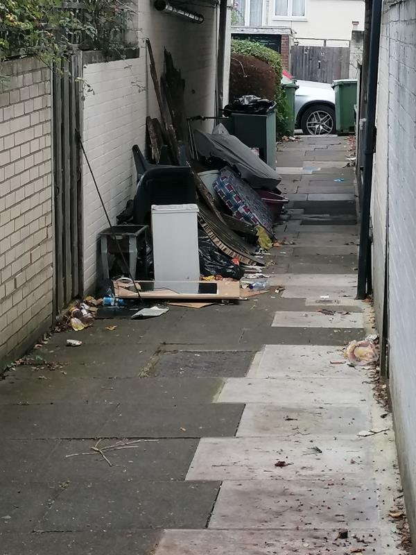 Really big fly tip, between 6 and 8 mayow road loads of things including mattresses and decking, been reporting for weeks now have recieved emails saying it's completed but as you can see from pic it's still there-6 Mayow Road, London, SE23 2XG