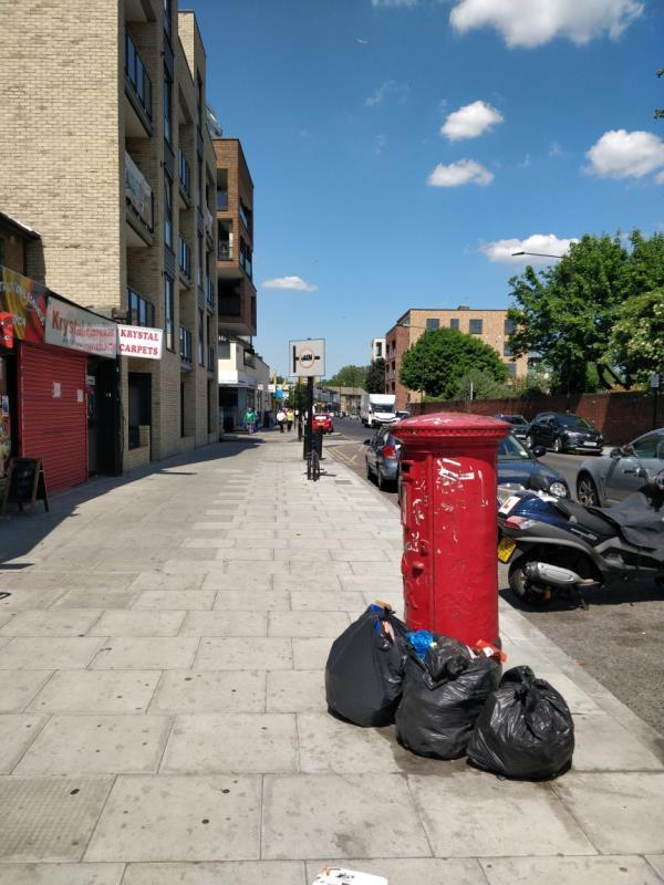 Flytipping on the pavement beside 85 Leytonstone Road E15-85a Leytonstone Road, London, E15 1JA