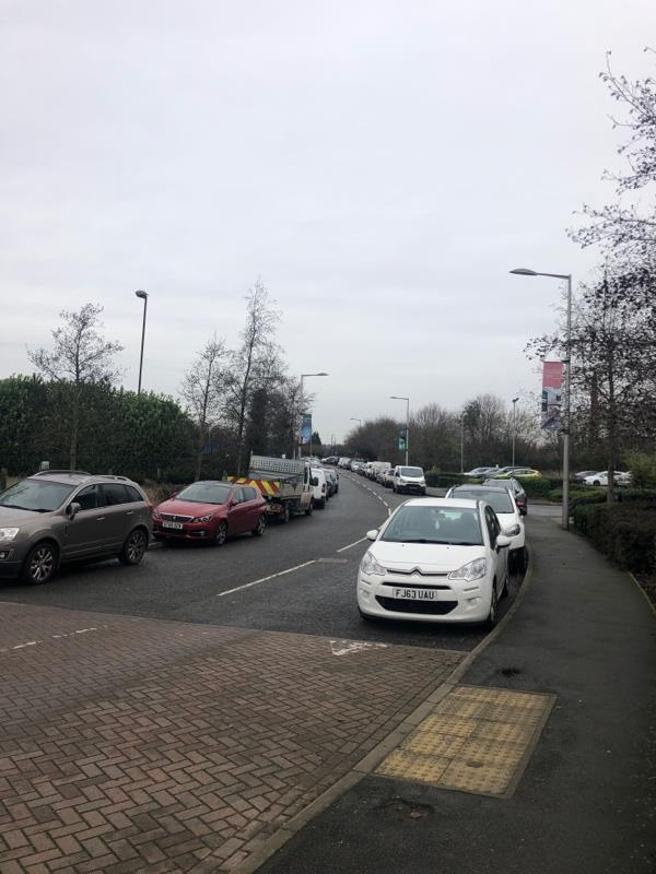 Exploration drive dangerous for pavement users vehicles park both sides  image 2-6 Discovery Road, Leicester, LE4 5AB
