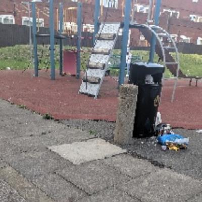 Residents keep on leaving household garbage in the playground bin on a daily basis. This includes alcohol glass bottles, which is dangerous for the kids playing around. Please help. image 1-10 Ambleside Close, London, E9 6EP