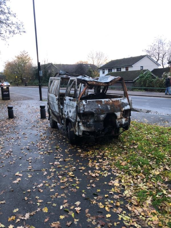 Abandoned stripped vehicle.-15 Partridge Close, London, E16 3TB