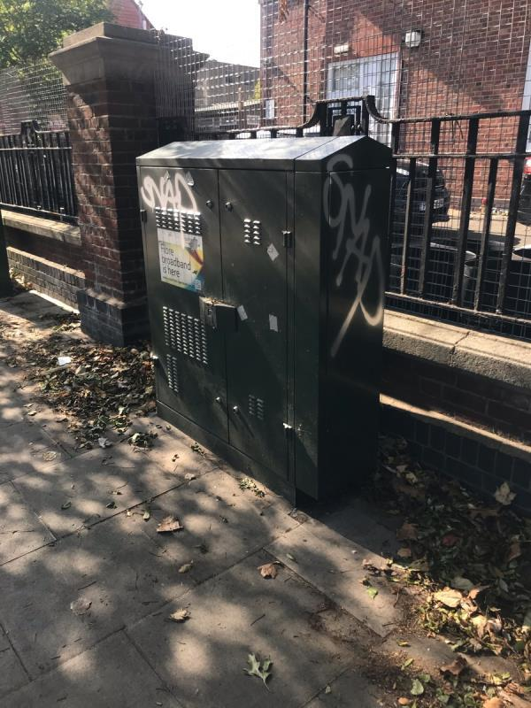 Spray painted tags are located on a green cabinet located outside Greenford library Oldfield Lane South ub6 -21 Oldfield Lane South, Greenford, UB6 9LQ