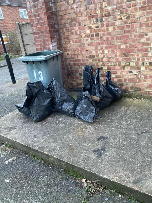 Loads of black bags and a wooden door dumped at the back of falcon street needs removing asap-7 Falcon Street, Plaistow, E13 8DD