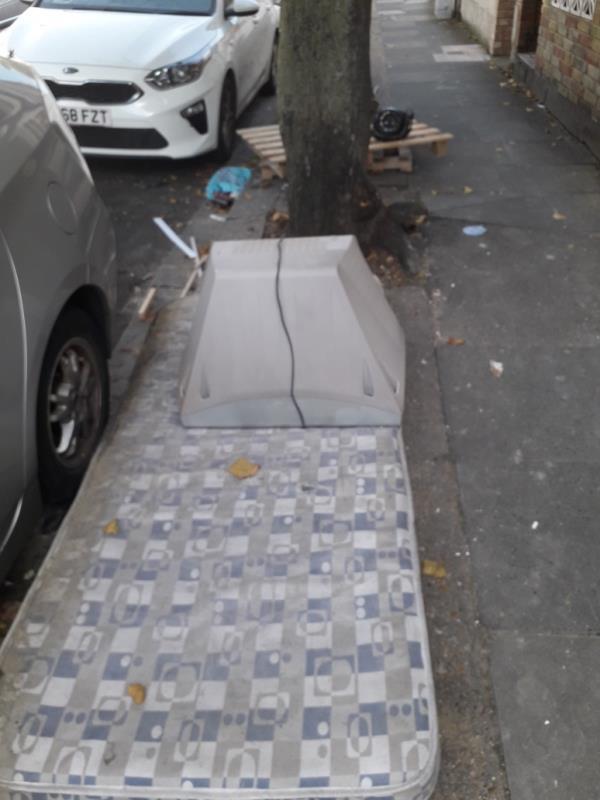 mattress,, TV, wooden pallet -20 East Ave, London E12 6SQ, UK