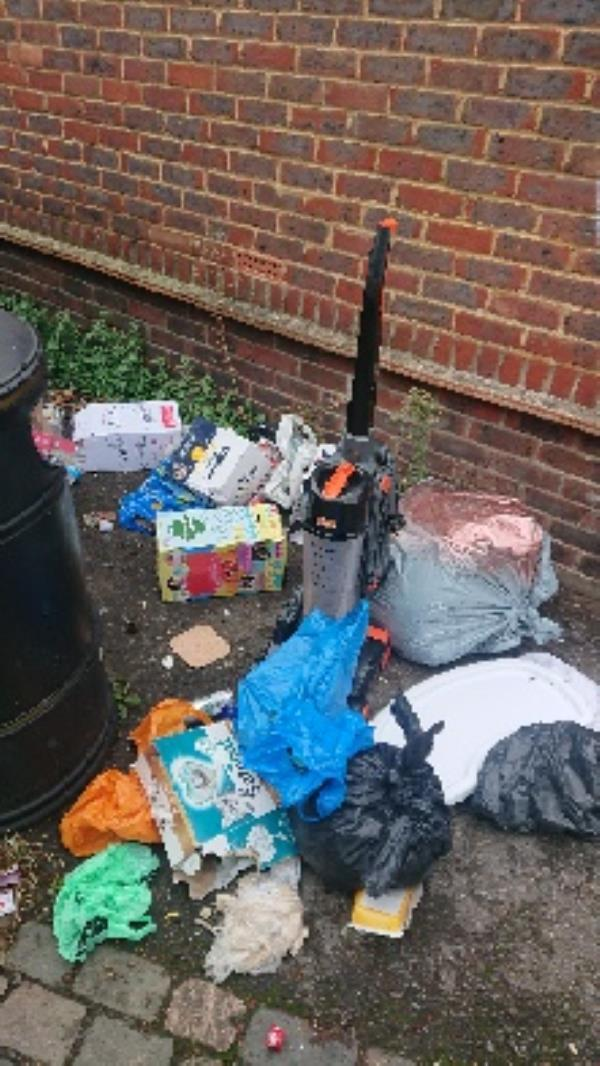 House hold waste removed fly tipping on going at this site -2 Huntley Court Erleigh Road, Reading, RG1 5NW