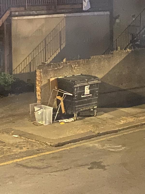 I have just seen the resident of 18 Clements Road walk up to here and dumped this rubbish. It was a fat chubby Asian young man. I believe there is cctv here so it would be caught in camera at approximately 10pm on 31st May-3 Clements Road, London, E6 2DS
